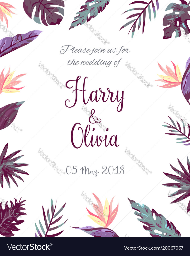 invitation template with tropical leaves vector image