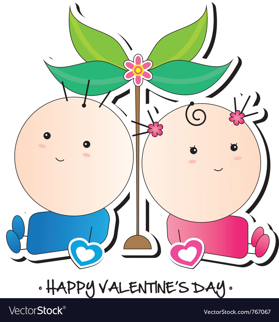 Kids Valentines Card Royalty Free Vector Image