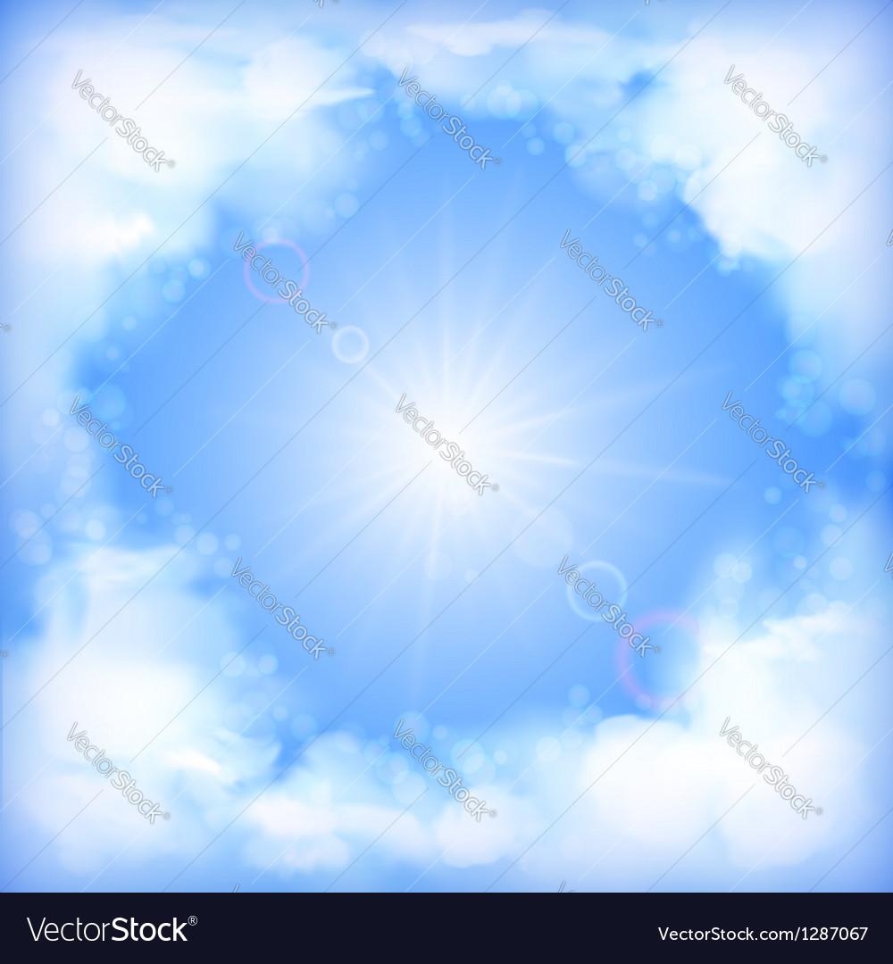 Ky Design White Clouds Sun Blur vector image