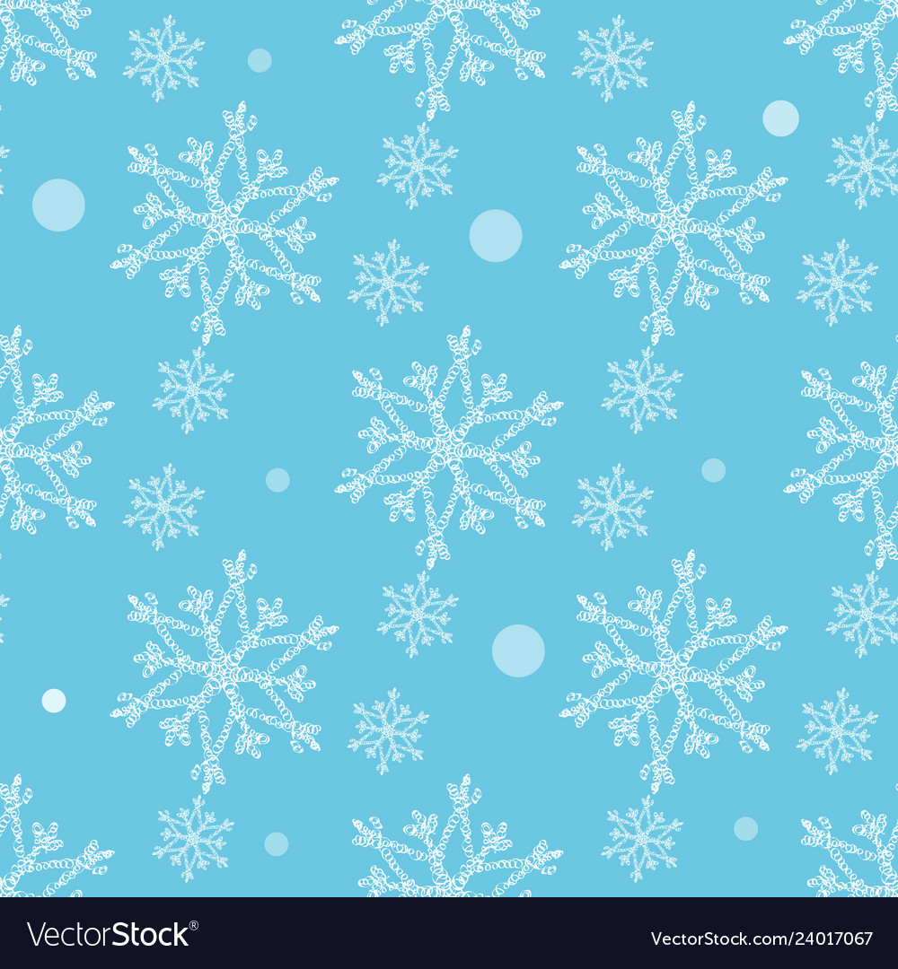 Seamless pattern with snowflakes winter background