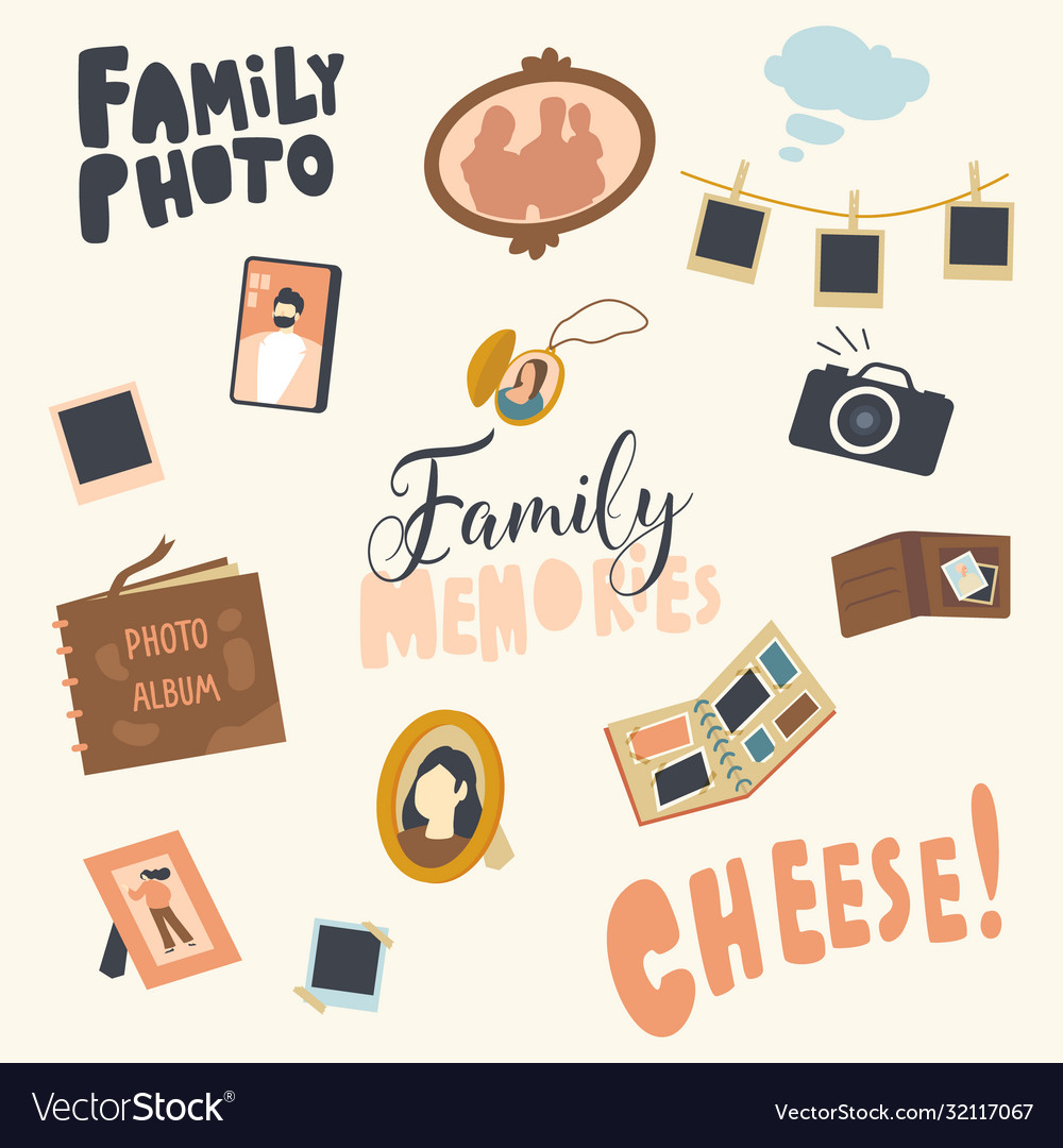 Set icons photo album picture family