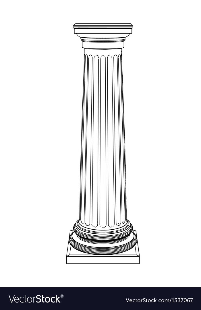 Single greek column isolated on white vector image