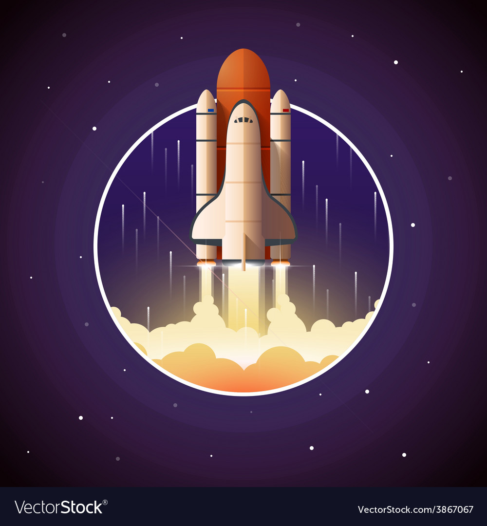 space shuttle launch royalty free vector image rh vectorstock com About to Launch Space Shuttle 2015 New Space Shuttle