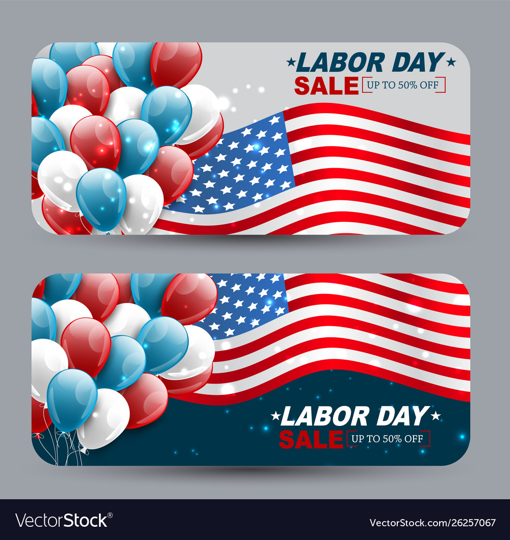 Usa Labor Day Sale Banners National Holiday