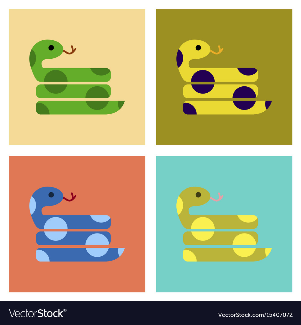 snake set isolated elongated legless reptiles