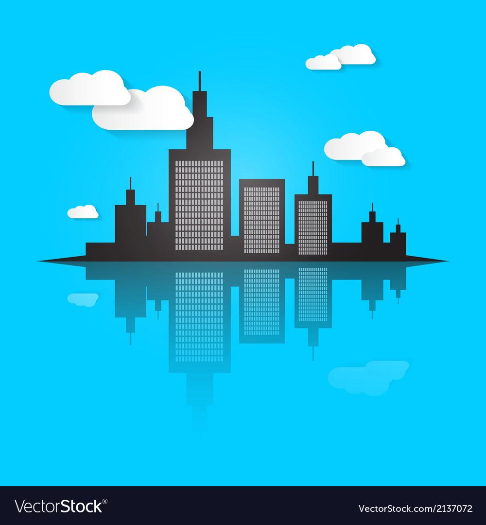 City Scape on Blue Background