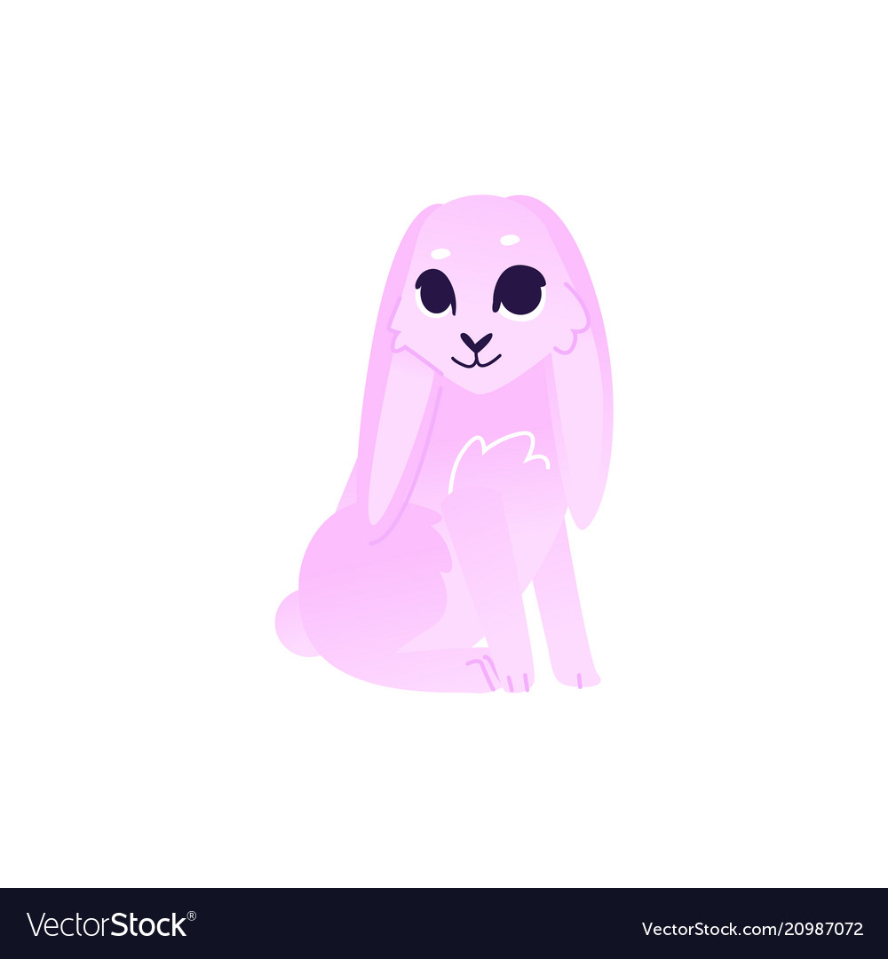 Cute rabbit with pink fur sitting isolated on