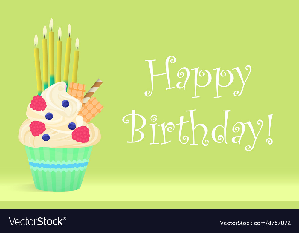 Delicious Birthday cupcake with candles on light vector image