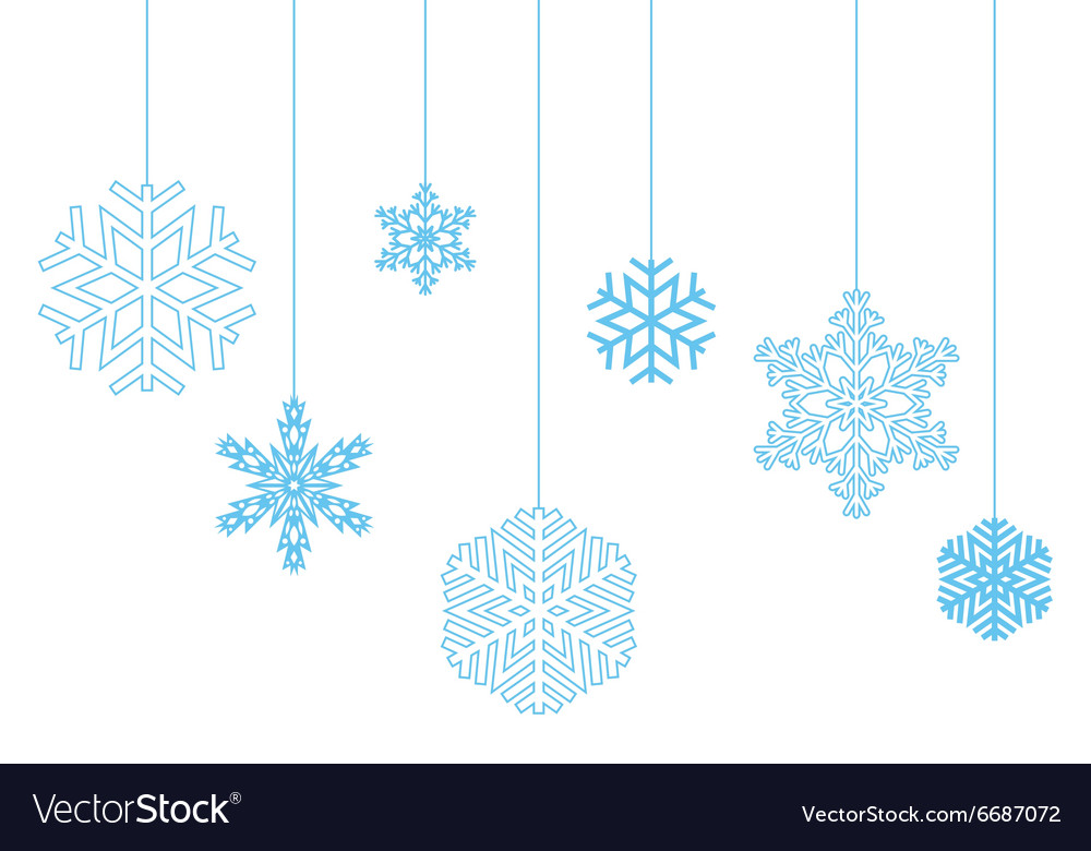 Hanging snowflakes on a white background vector image