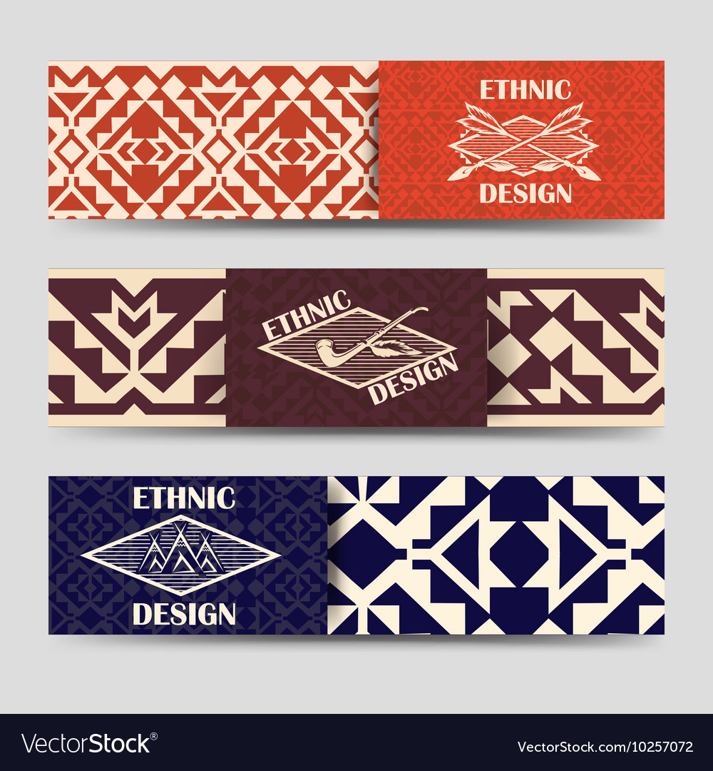 Native american style borders banners