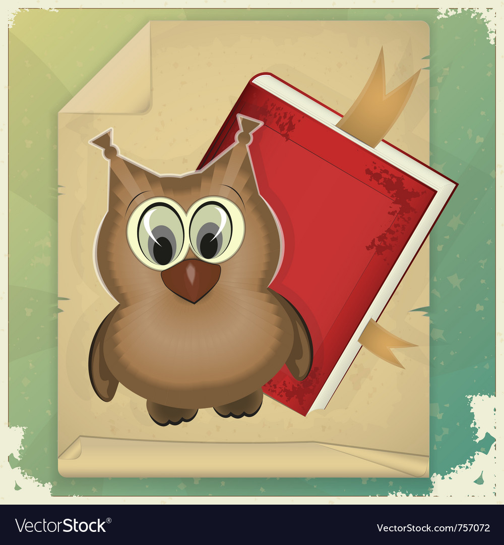 Owl with book vector image