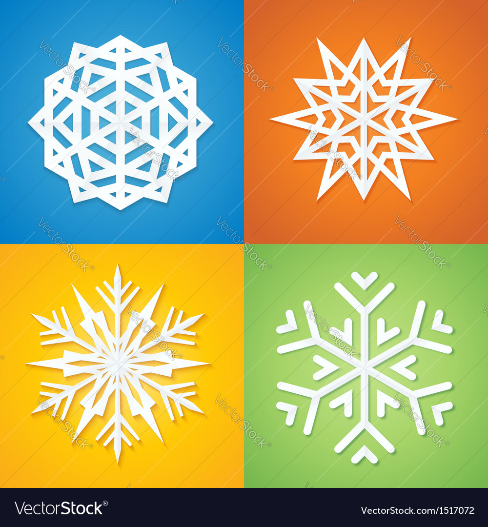Paper Snowflakes on Colorful Background