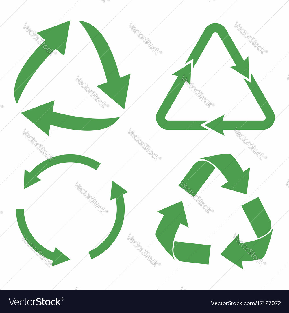 Recycle icon set green eco cycle arrows recycle