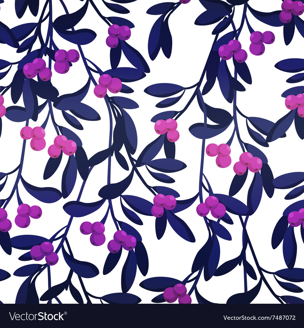Seamless pattern with berries and leaves