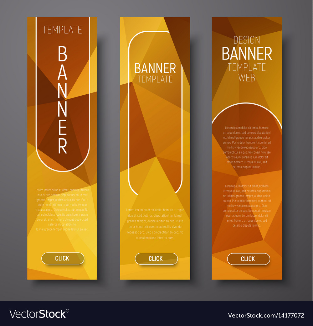 Template vertical web banners with polygonal