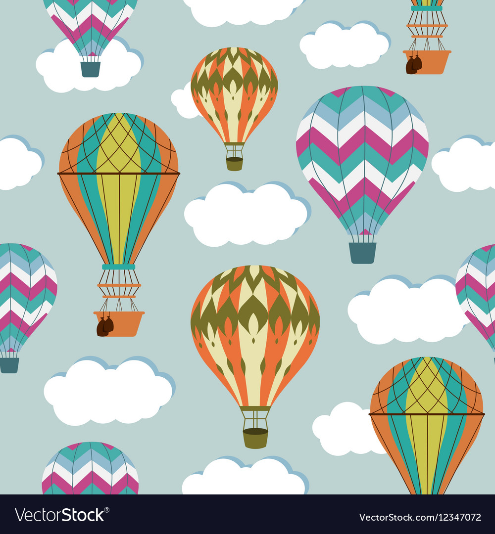 Vintage balloons seamless pattern Retro hot air