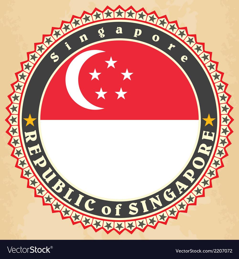 Vintage label cards of Singapore flag