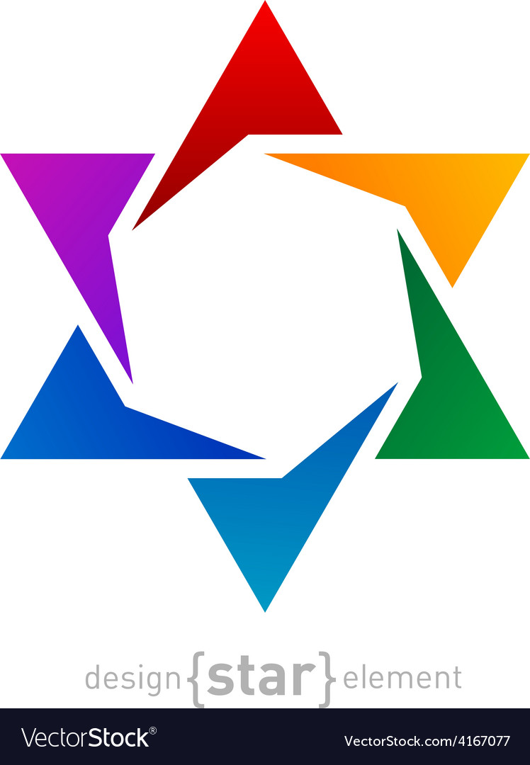 Abstract design element rainbow star on white