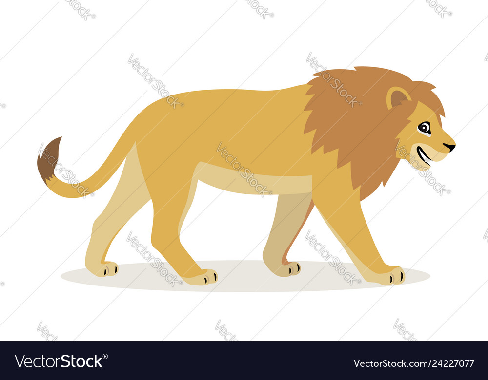 African animal cute funny lion icon isolated on