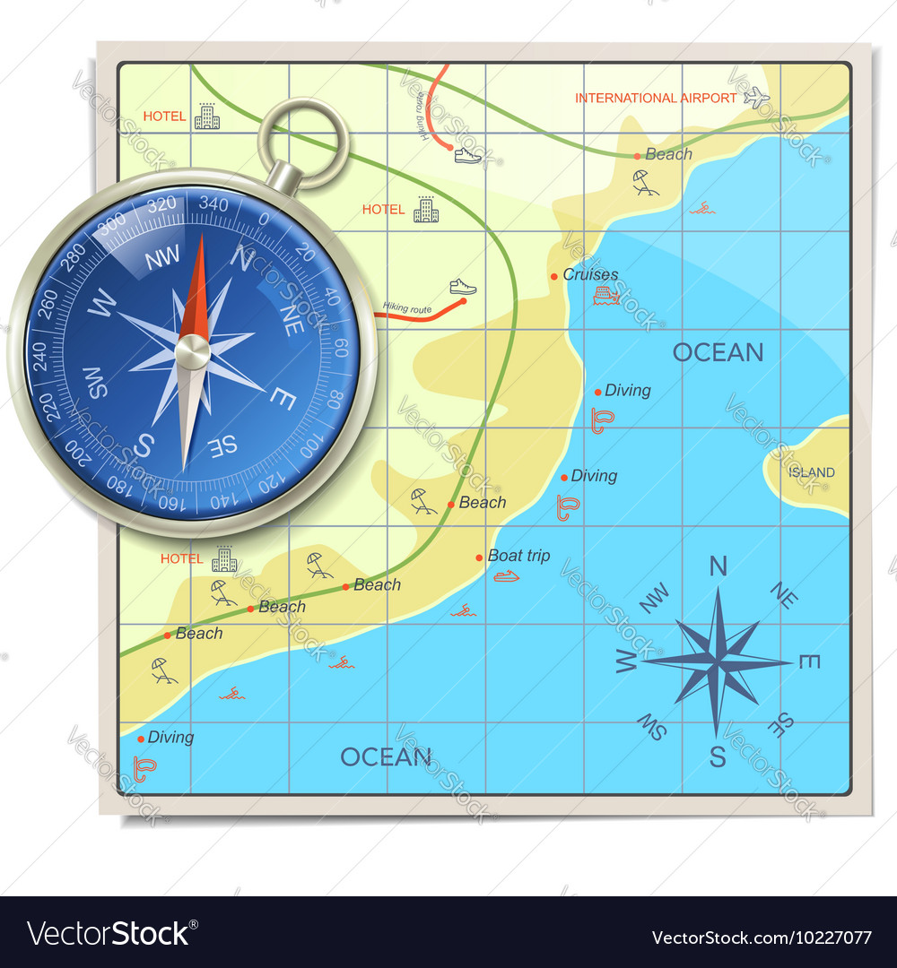 beach map with compass royalty free vector image