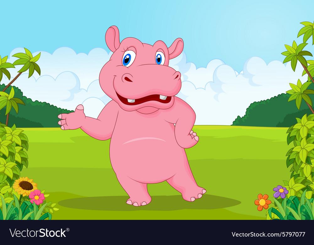Cartoon big hippo waving