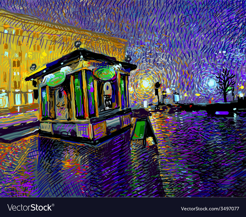 Digital painting of night Kyiv city vector image