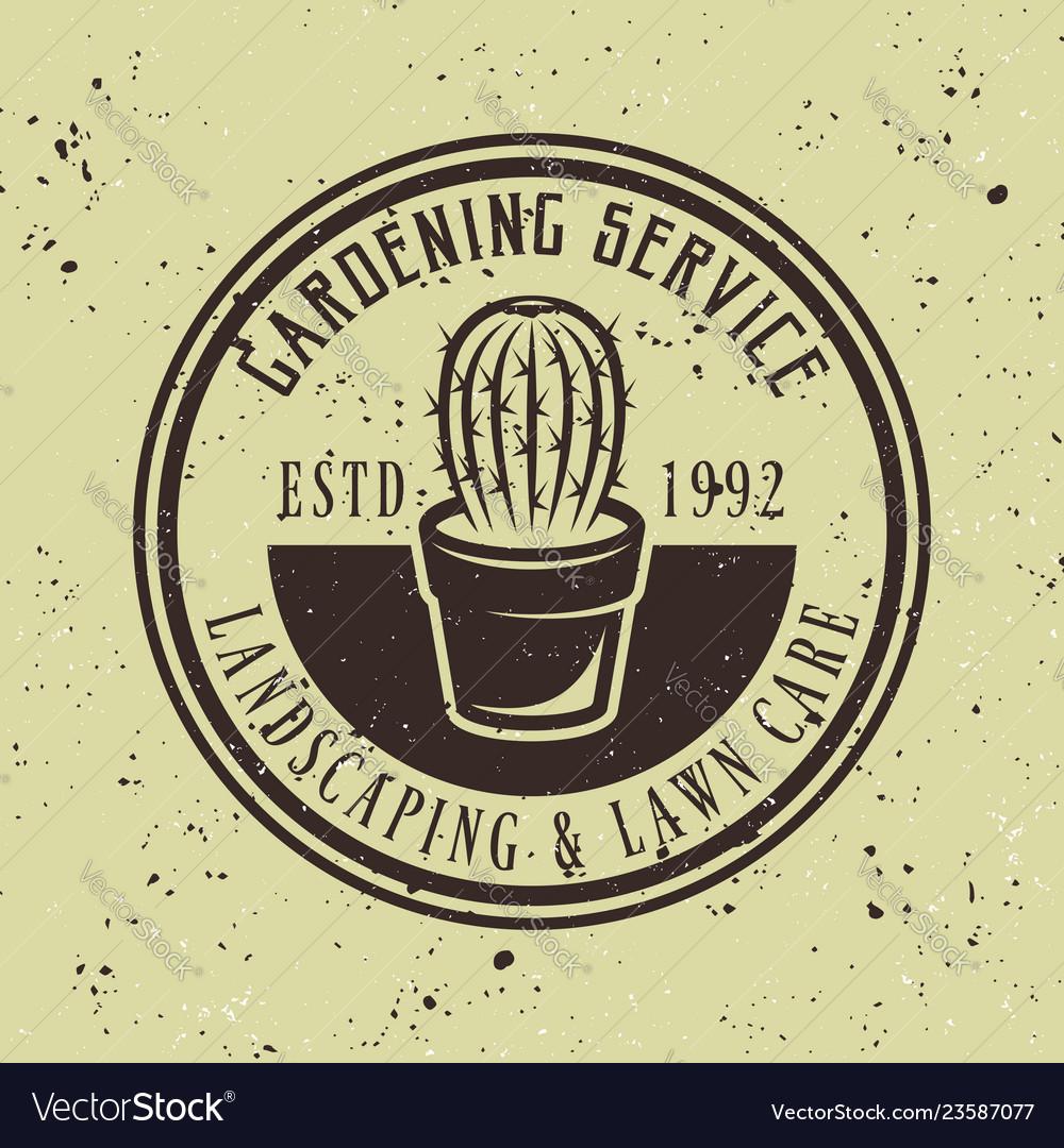 Gardening service emblem with cactus