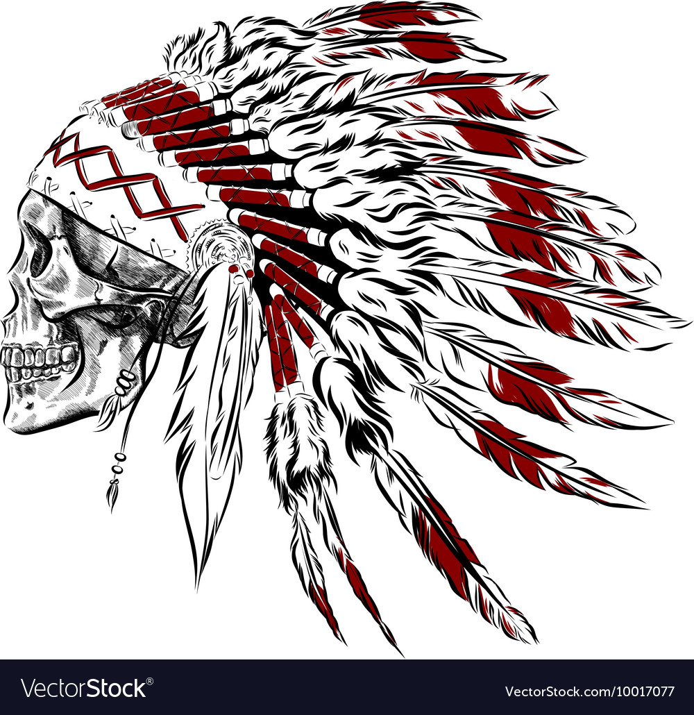 Hand Drawn Native American Indian Feather