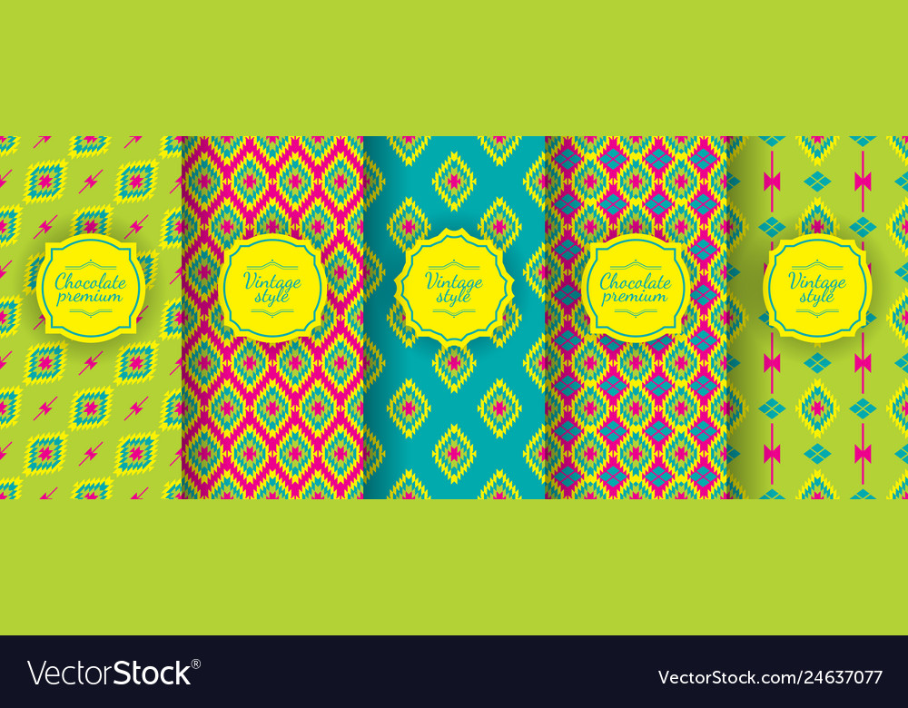Ikat seamless pattern set of traditional uzbek