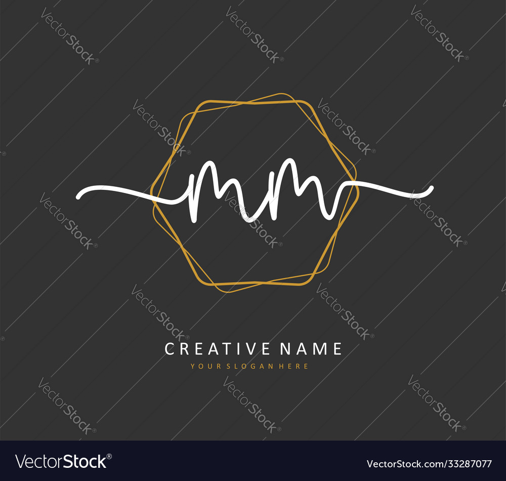 M mm initial letter handwriting and signature