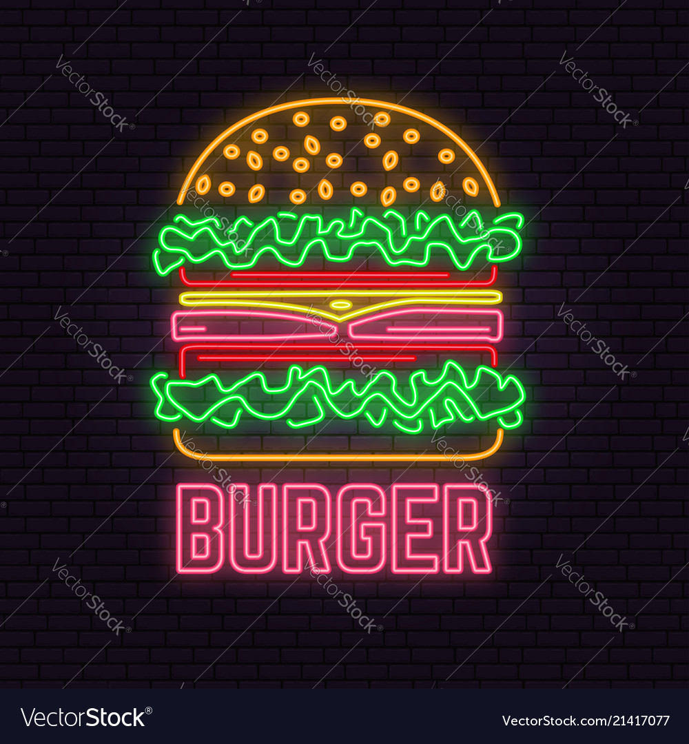 Retro neon burger sign on brick wall background