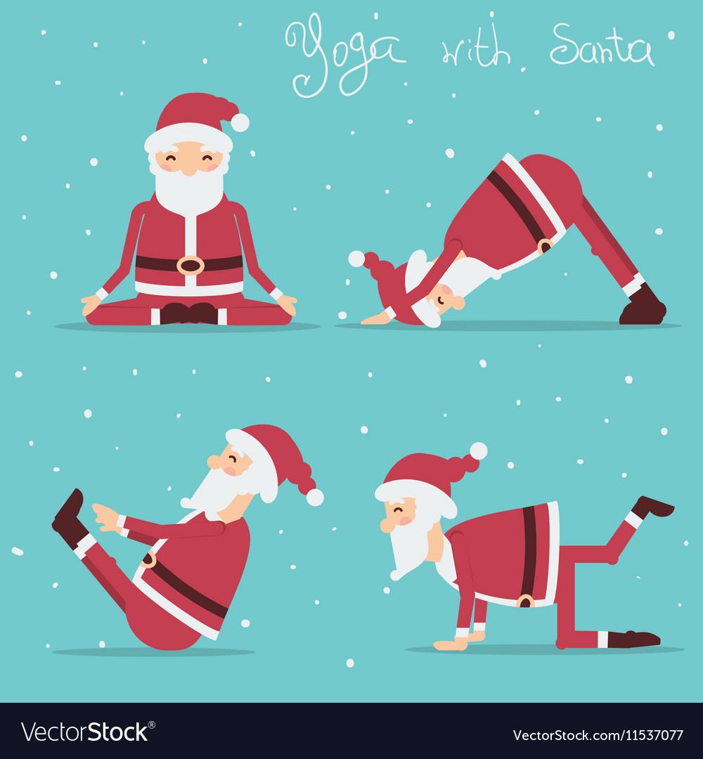 Santa Claus Doing Yoga Holiday Royalty Free Vector Image