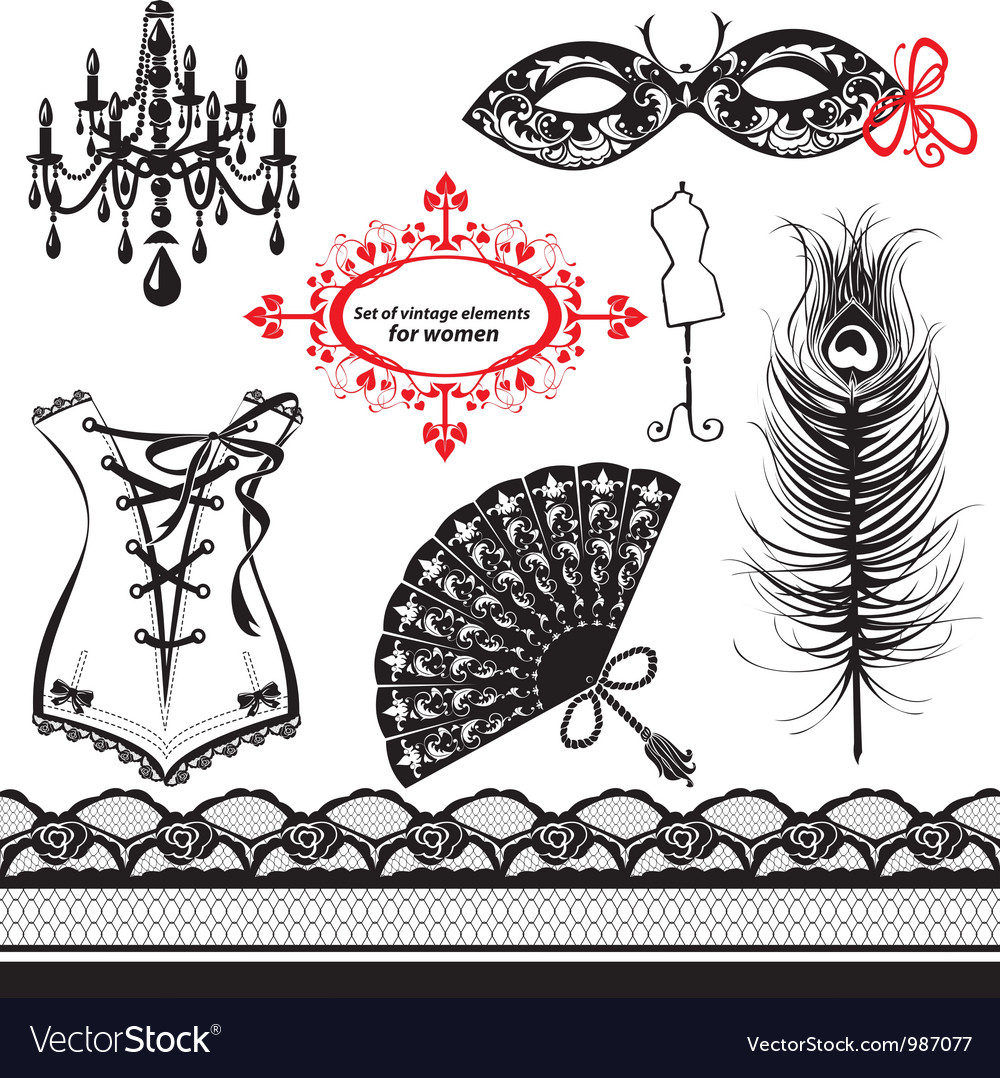 Set of elements for women vector image