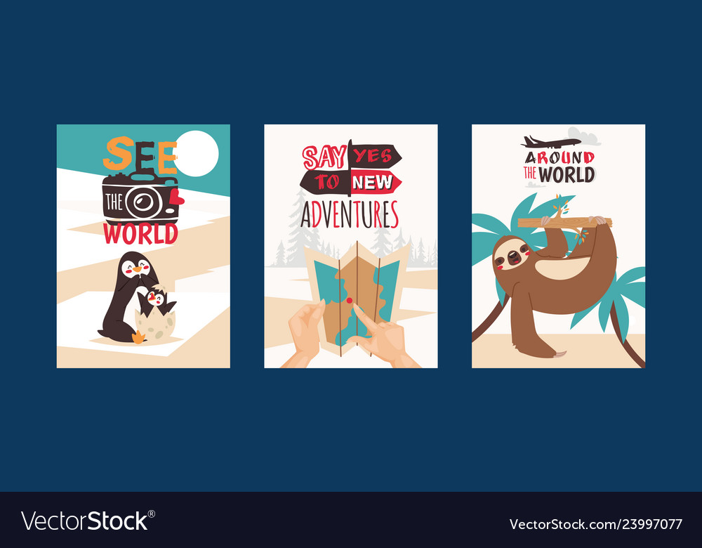 Travelling concept set of cards see the world