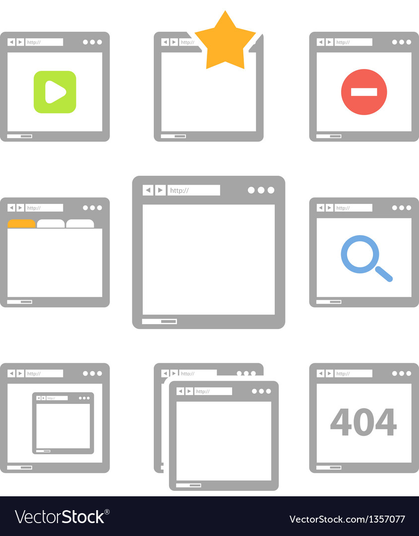 Web browser icons isolated on white vector image