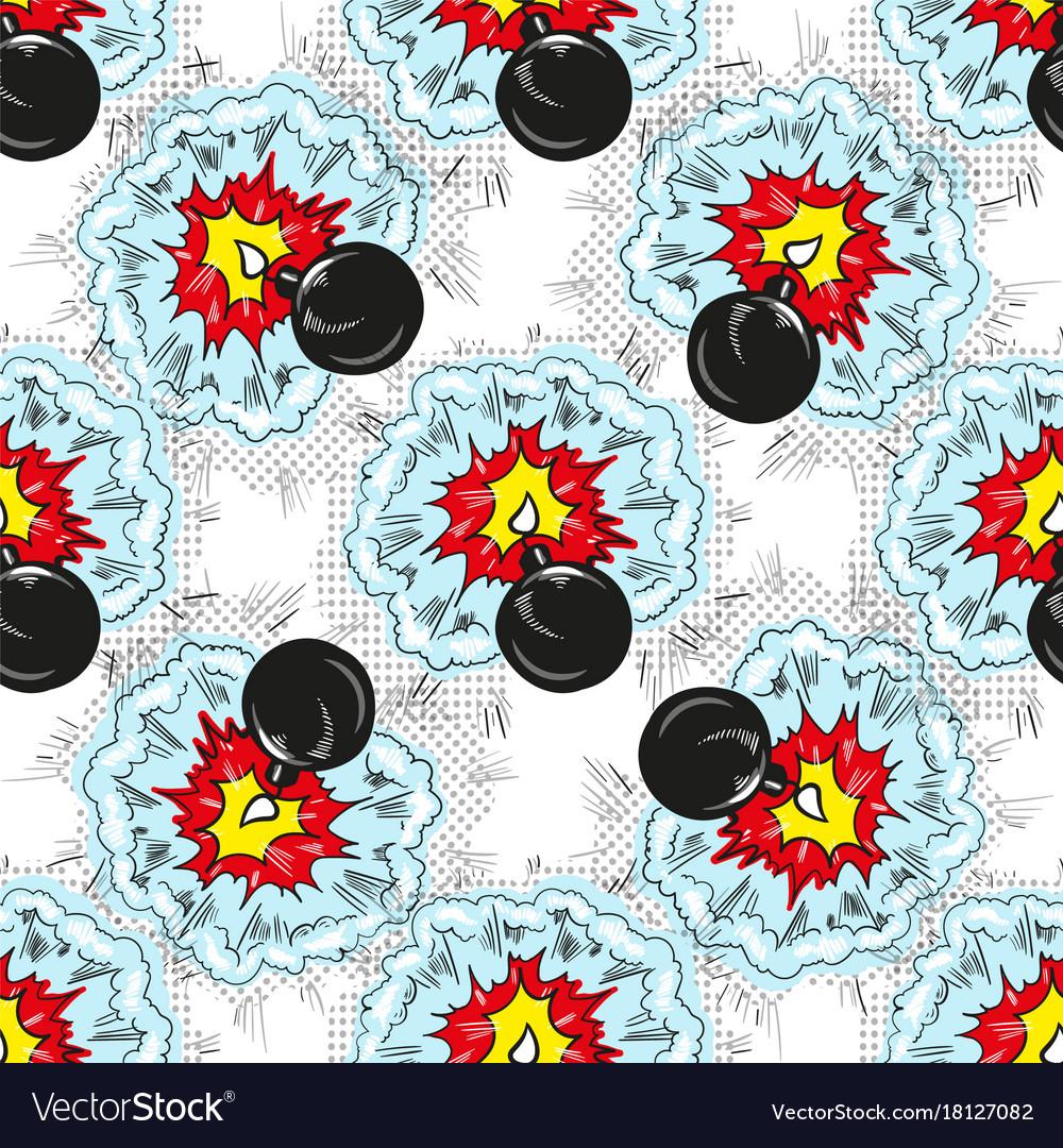Bomb explosion pop art comic seamless pattern vector image