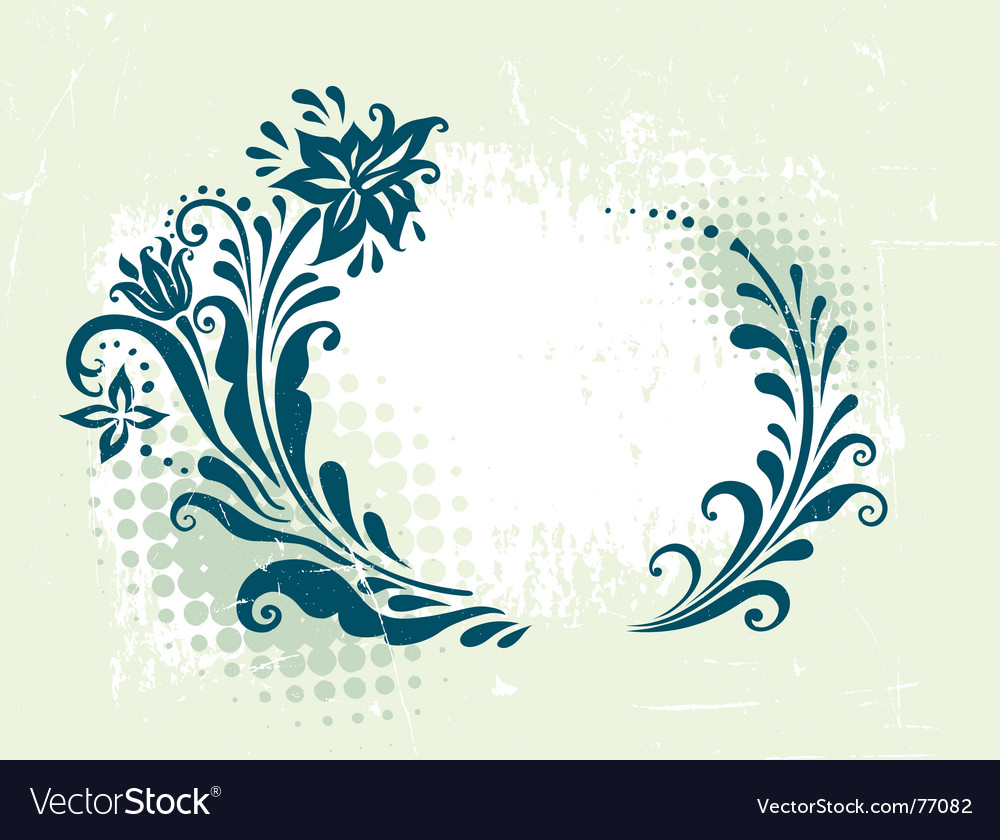 Circle decorative grunge floral frame