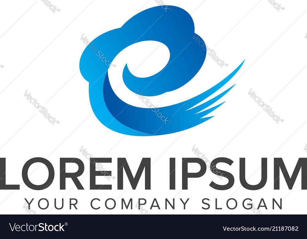 Cloud with letter e logo design concept template