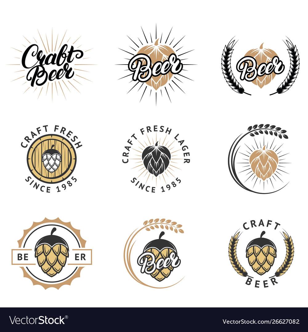 Craft fresh beer emblem logo badge and label