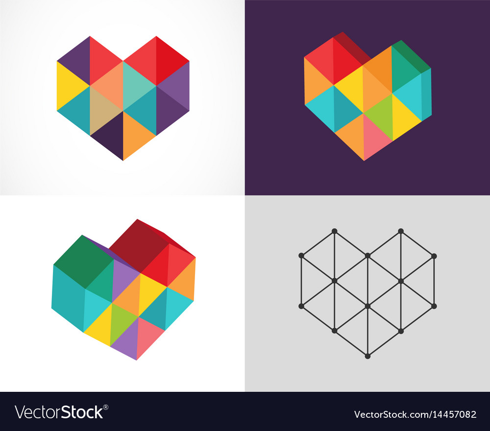 Creative digital abstract colorful icons logos vector image
