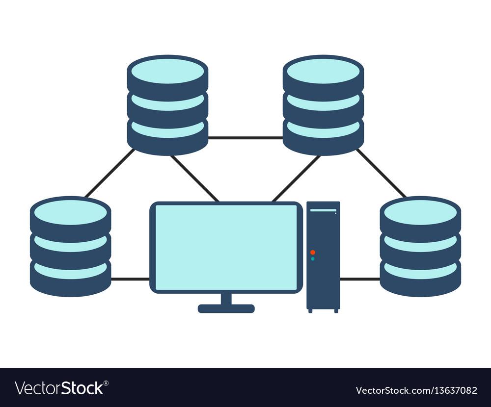 Database network icon flat