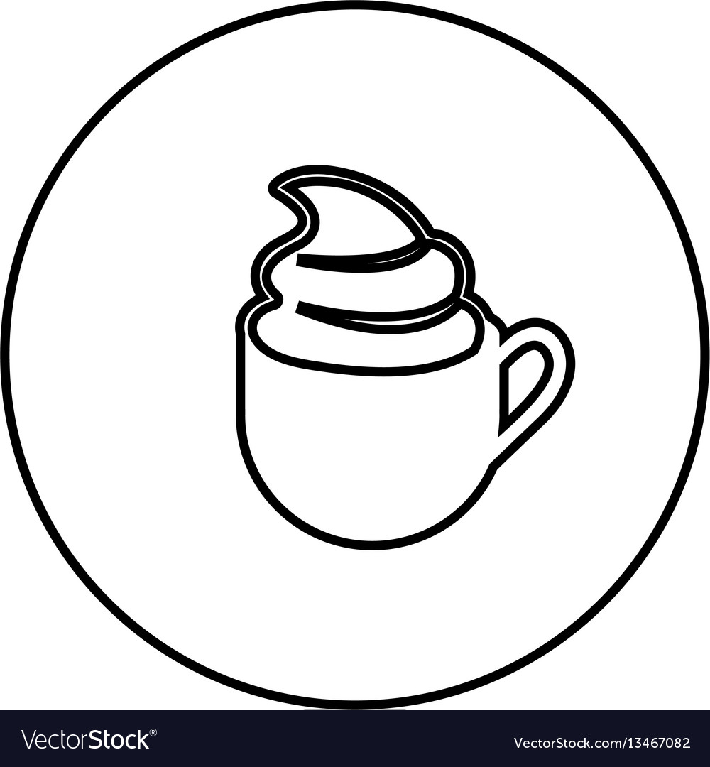 Figure emblem cup coffee with cream icon vector image
