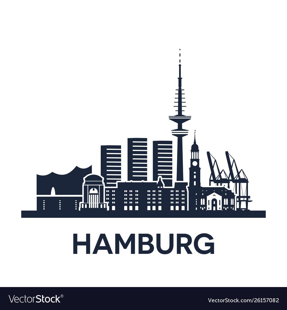 Hamburg city skyline germany detailed version