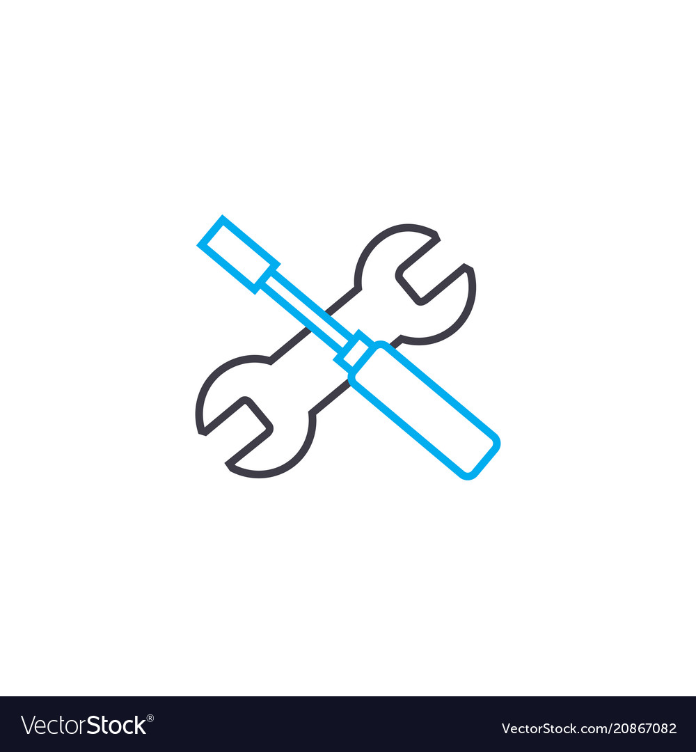 Installation work thin line stroke icon vector image