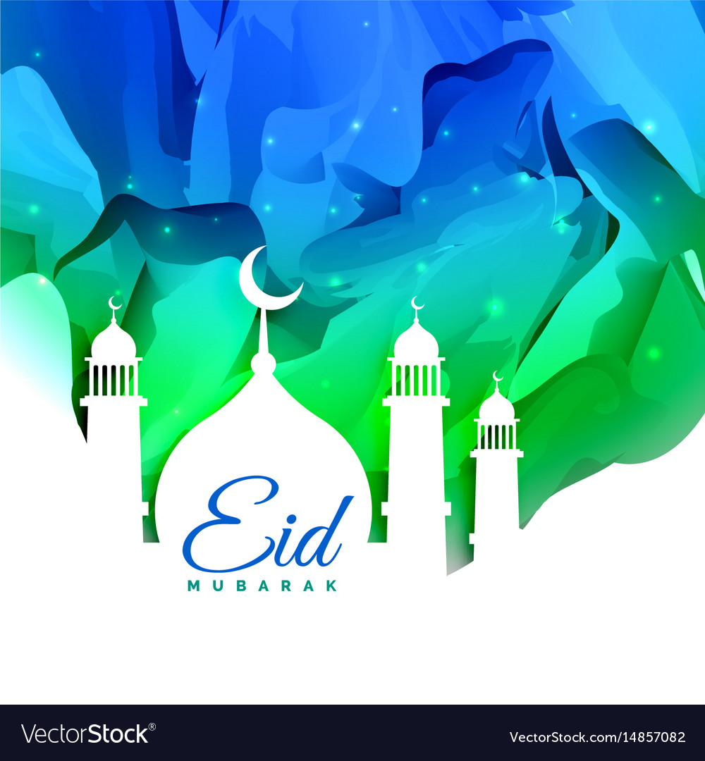 Islamic Eid Festival Greeting Card Design With Vector Image