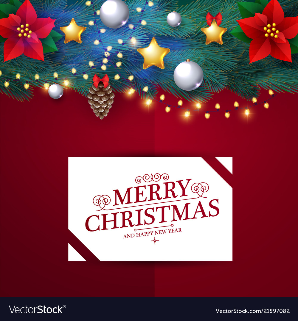 Merry christmas design template with realistic fir