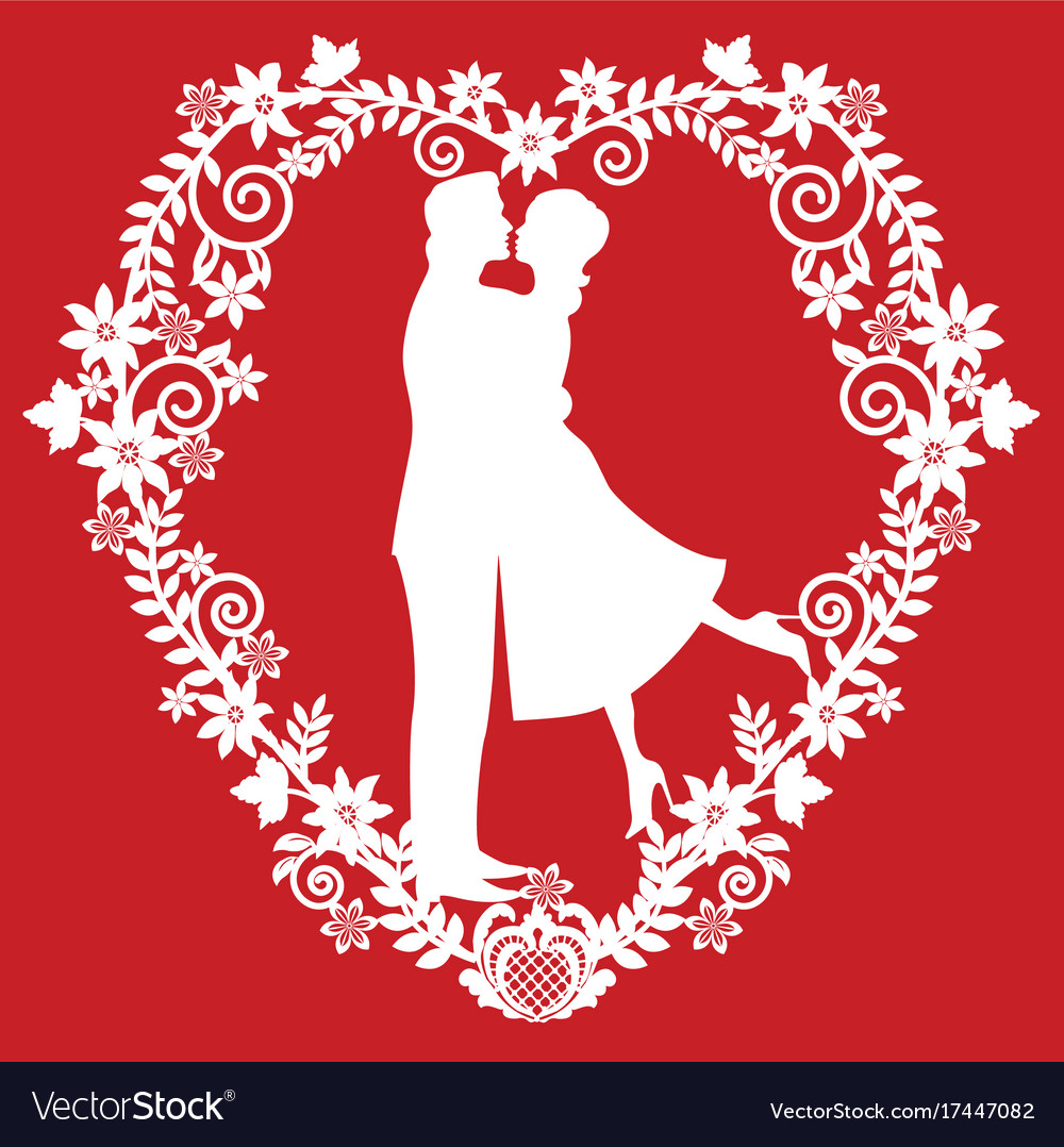 Silhouette kissing the bride and groom vector image