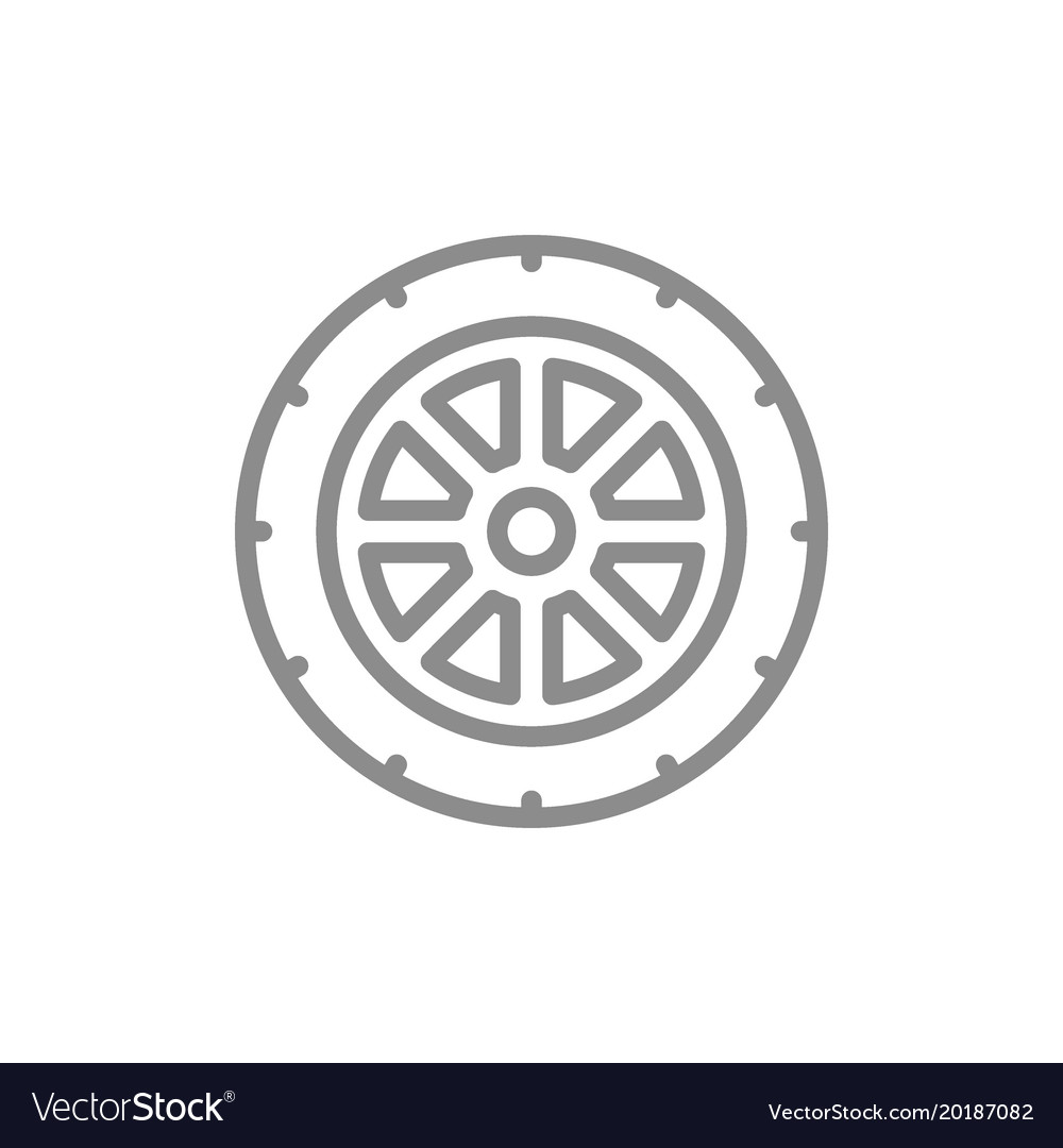 Simple car wheel line icon symbol and sign
