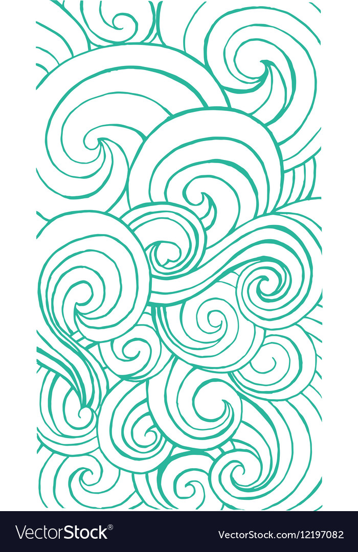 Vertical curly waves pattern for app or web design vector image