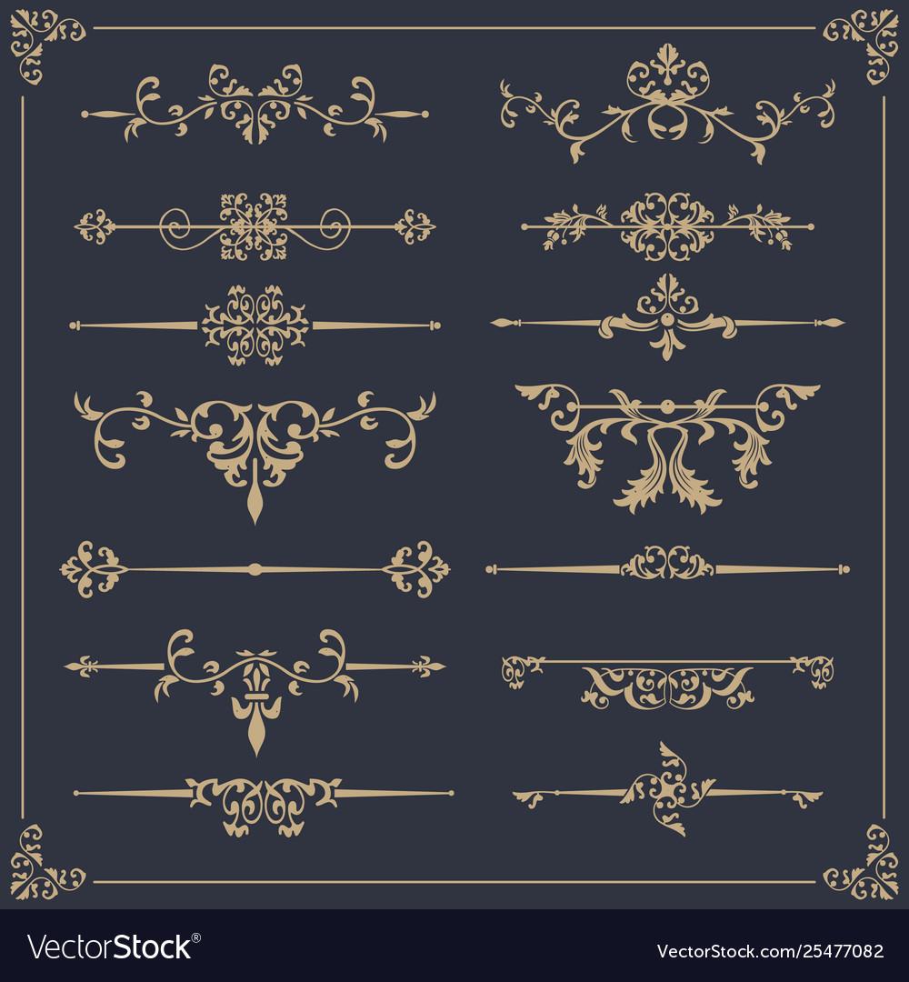 Vintage set floral elements for design of